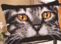 Vervaco 1210-1001 Cat Rectangular Cushion Front.jpg