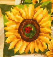 Vervaco 1225-5767 Sunflower with Ladybird Cushion Front.jpg