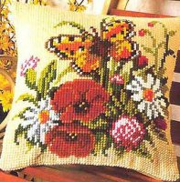 Vervaco 1200-496 Butterfly and Flowers Cushion Front.jpg